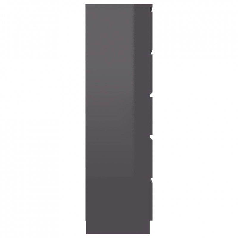 Komoda na wysoki połysk, szara, 60x35x121 cm, płyta wiórowa