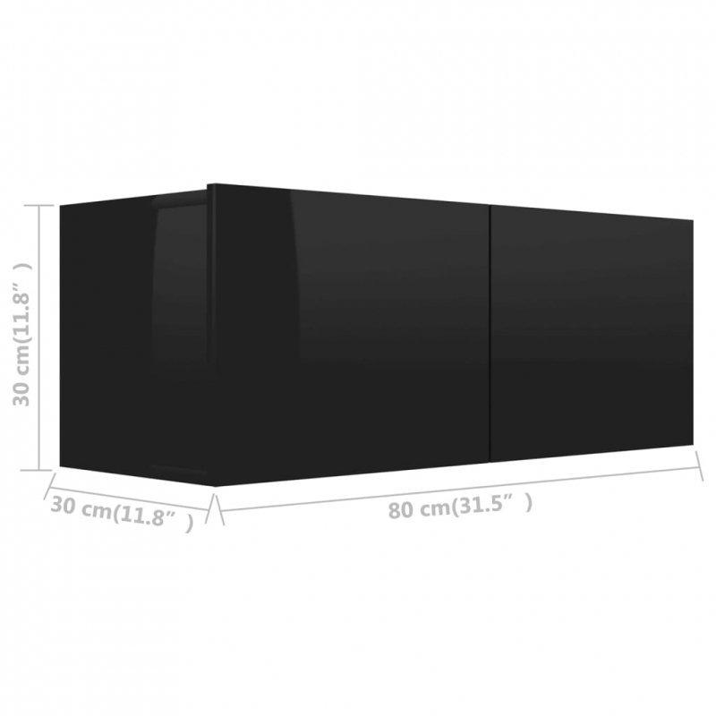 Szafka TV, wysoki połysk, czarna, 80x30x30 cm, płyta wiórowa