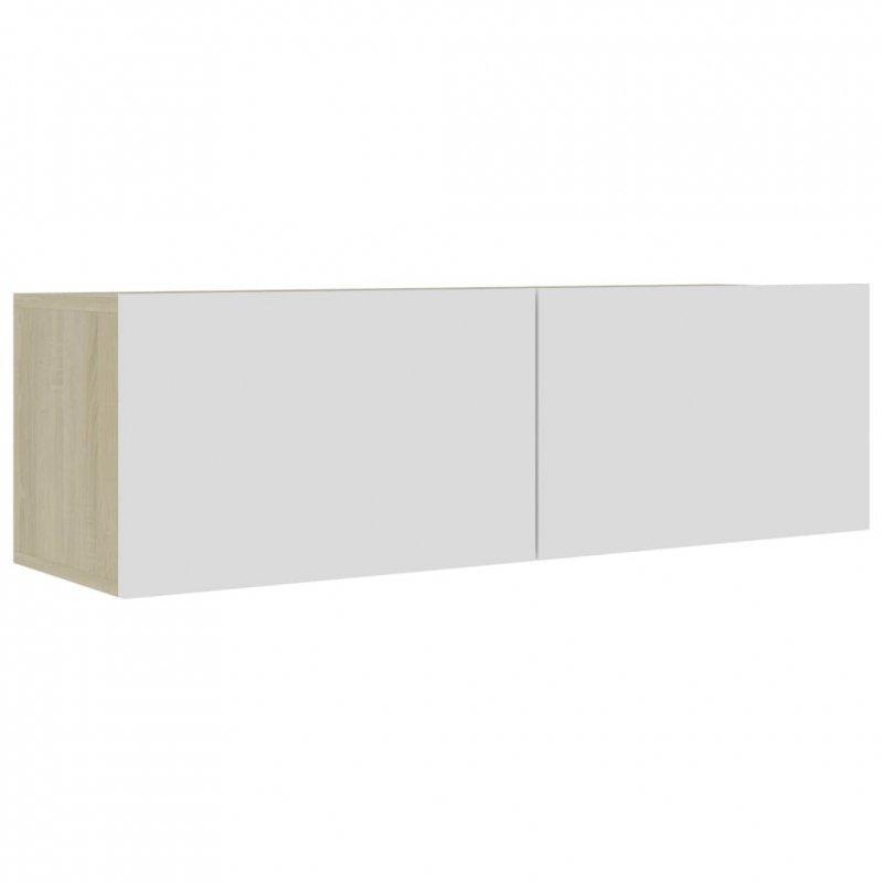 Szafka pod TV, biel i dąb sonoma, 100x30x30 cm, płyta wiórowa