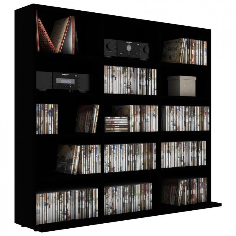Szafka na płyty CD, czarna, 102 x 23 x 89,5 cm, płyta wiórowa