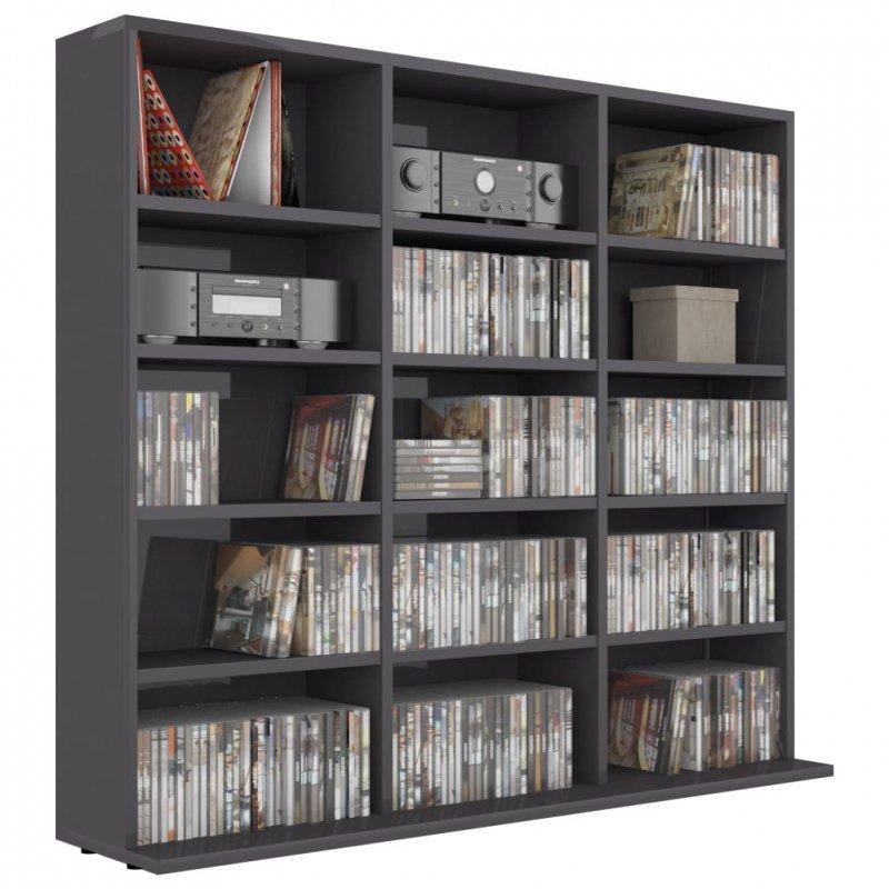 Szafka na płyty CD, wysoki połysk, szara, 102 x 23 x 89,5 cm