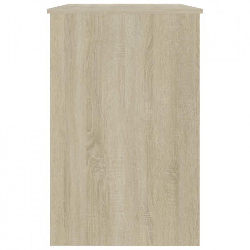 Biurko, biel i dąb sonoma, 100x50x76 cm, płyta wiórowa