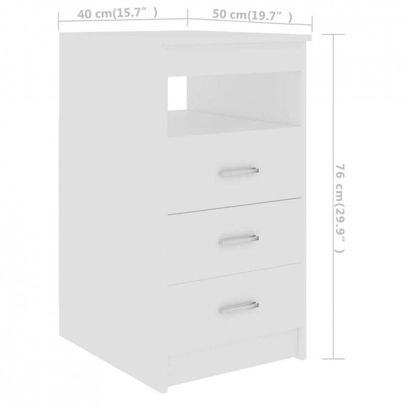 Komoda, biała, 40x50x76 cm, płyta wiórowa