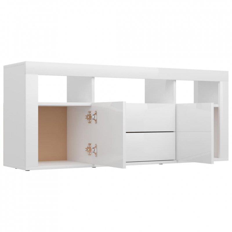 Szafka TV, biała, wysoki połysk, 120x30x50 cm, płyta wiórowa
