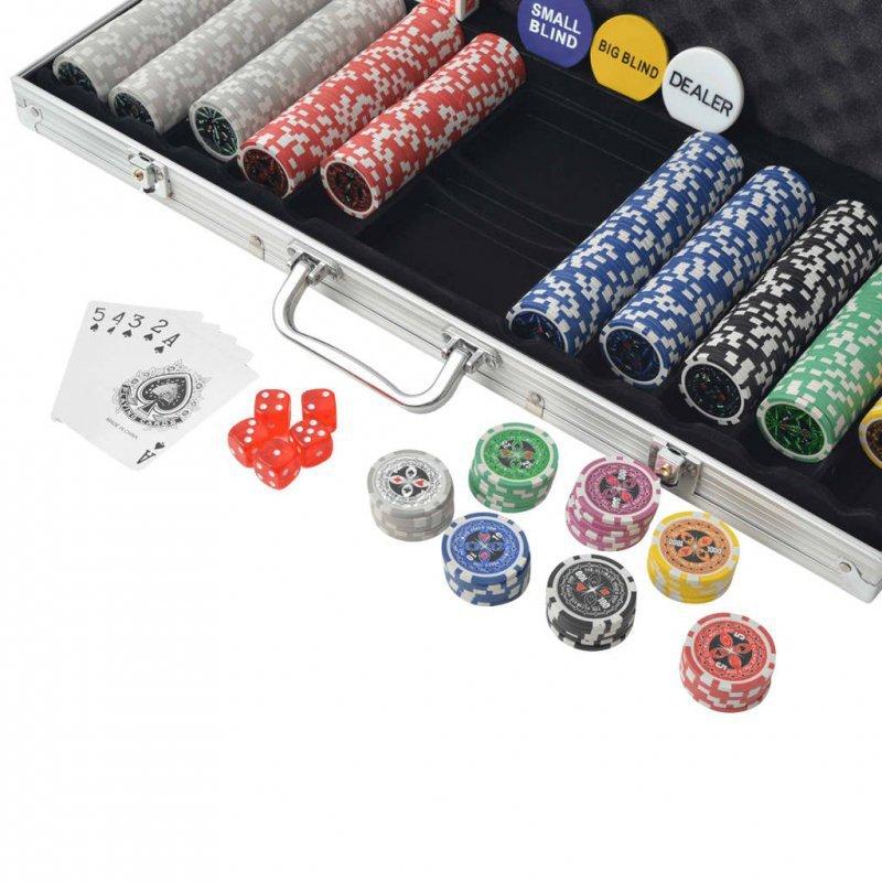 Zestaw do gry w pokera 500 żetonów laserowych, aluminium