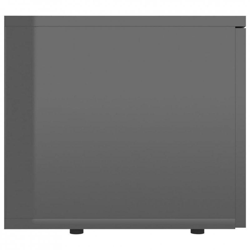 Szafka pod TV, szara, wysoki połysk, 80x34x30 cm, płyta wiórowa
