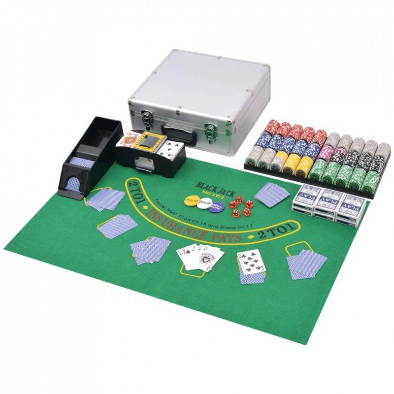 Zestaw do gry w pokera i blackjacka, 600 żetonów laserowych, aluminium