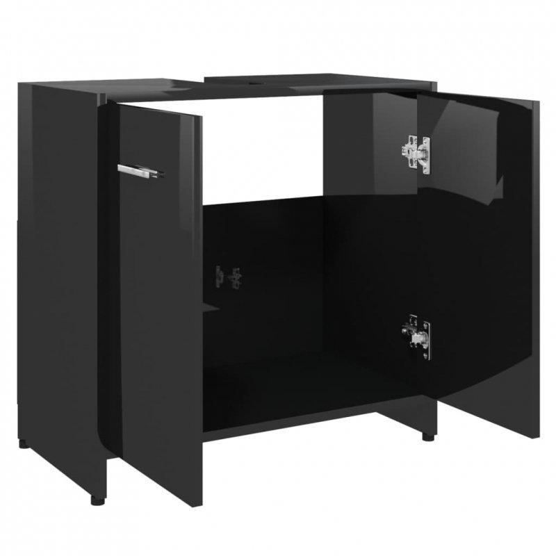 Szafka łazienkowa, połysk, czarna, 60x33x58 cm, płyta wiórowa