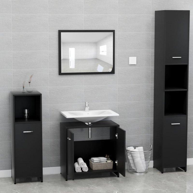 Zestaw mebli łazienkowych, czarny, płyta wiórowa