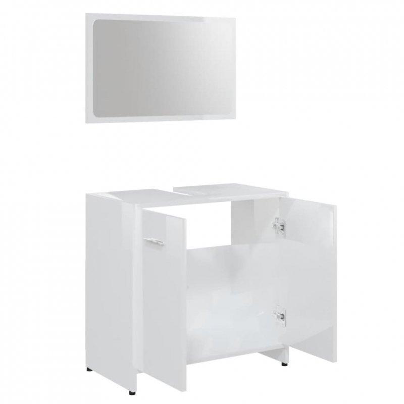 Zestaw mebli łazienkowych, wysoki połysk, biały, płyta wiórowa