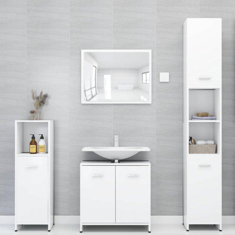 Szafka łazienkowa, biała, 30x30x95 cm, płyta wiórowa