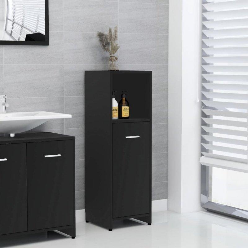 Szafka łazienkowa, czarna, 30x30x95 cm, płyta wiórowa