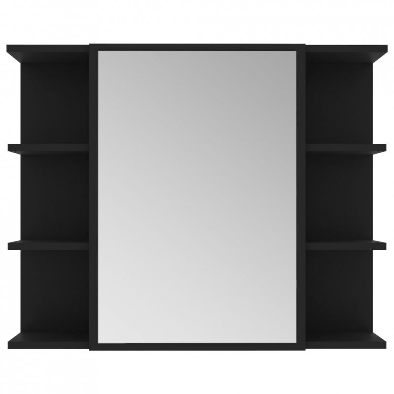 Szafka łazienkowa z lustrem, czarna, 80 x 20,5 x64 cm, płyta