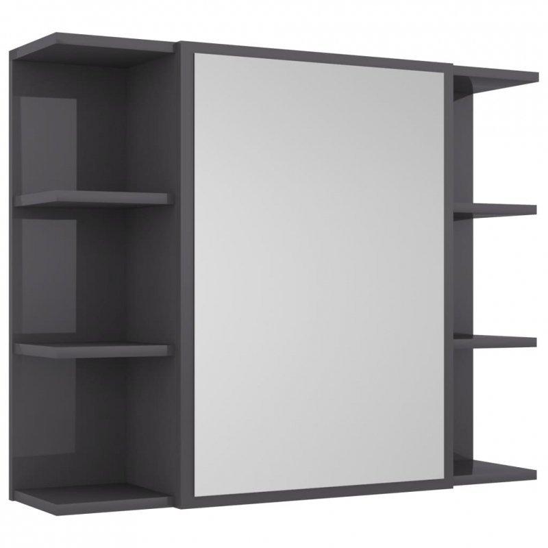 Szafka z lustrem, wysoki połysk, szara, 80x20,5x64 cm, płyta