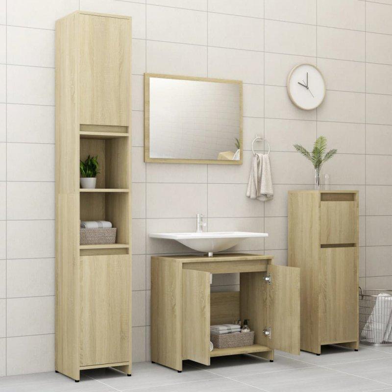 Zestaw mebli łazienkowych, dąb sonoma, płyta wiórowa
