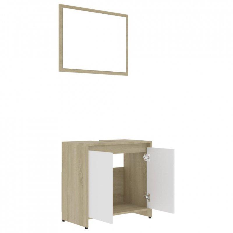 Zestaw mebli łazienkowych, biel i dąb sonoma, płyta wiórowa