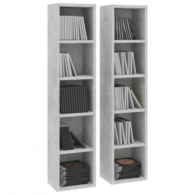 Szafki na płyty CD, 2 szt., szarość betonu, 21 x 16 x 93,5 cm