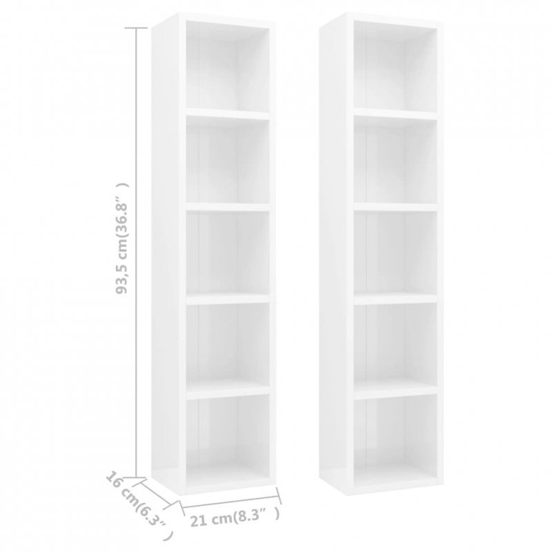 Szafki na płyty CD, 2 szt., wysoki połysk, białe, 21x16x93,5 cm