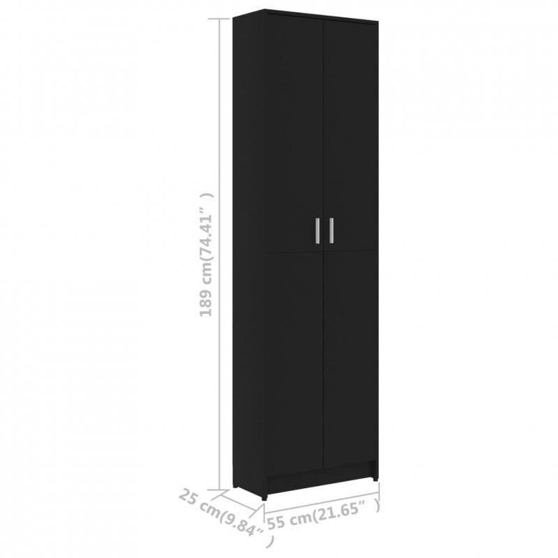 Szafa do przedpokoju, czarna, 55x25x189 cm, płyta wiórowa