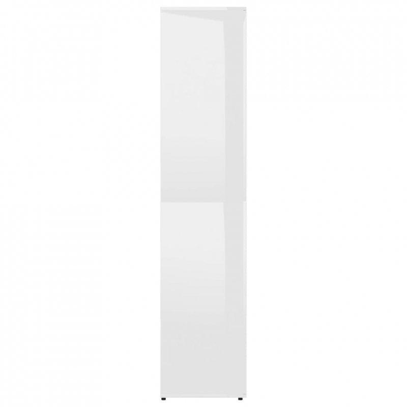 Szafka na buty, wysoki połysk, biała, 80x39x178 cm