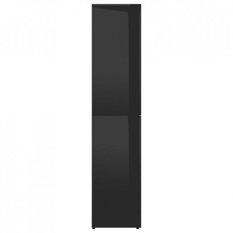 Szafka na buty, wysoki połysk, czarna, 80x39x178 cm