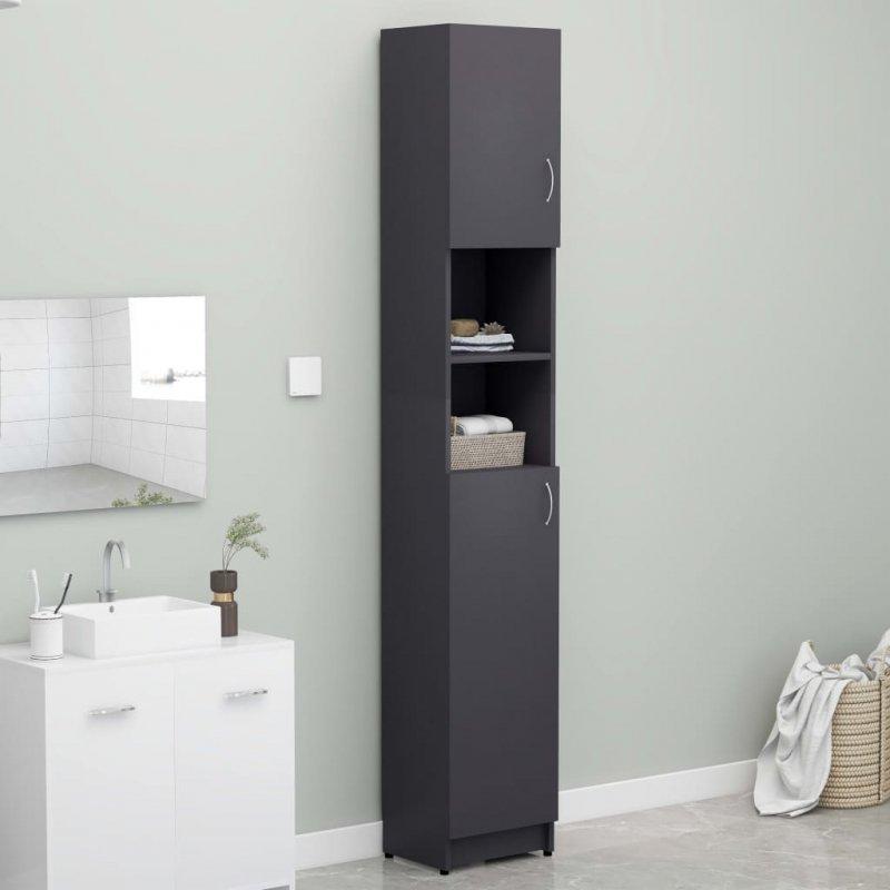 Szafka łazienkowa, szara, 32x25,5x190 cm, płyta wiórowa