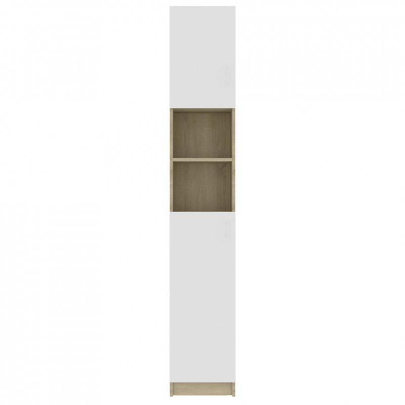 Szafka łazienkowa, biel i dąb sonoma, 32x25,5x190 cm, płyta