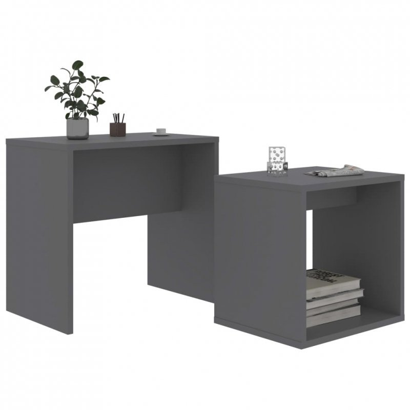 Zestaw stolików kawowych, szary, 48x30x45 cm, płyta wiórowa