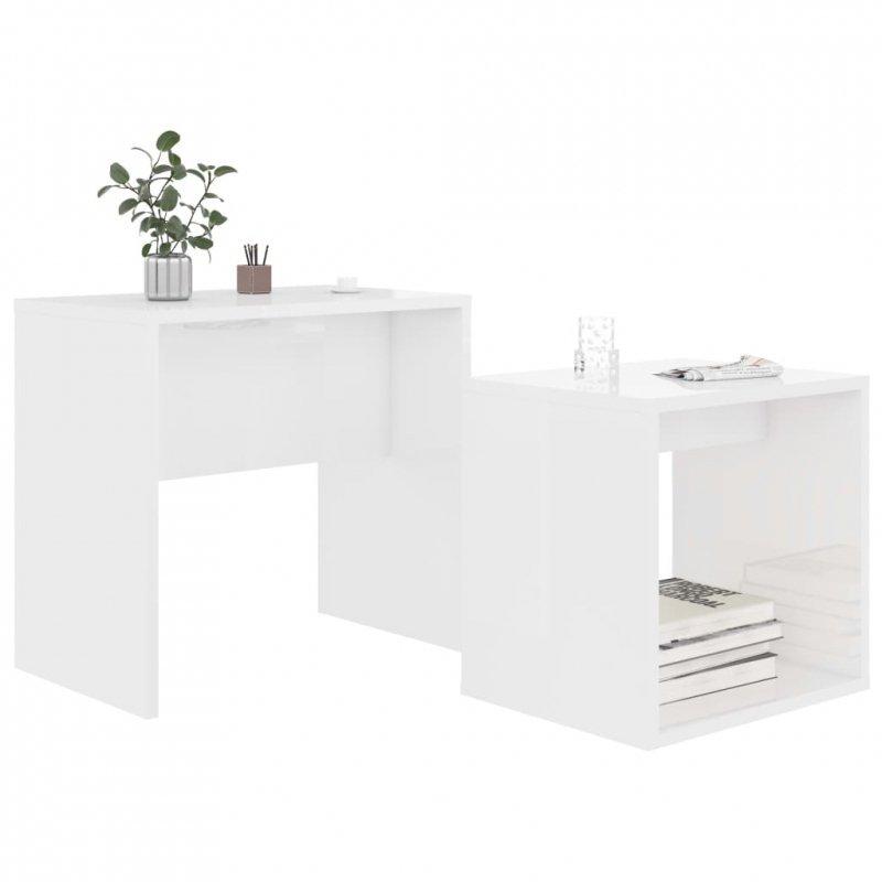 Zestaw stolików kawowych, biały na wysoki połysk, 48x30x45 cm