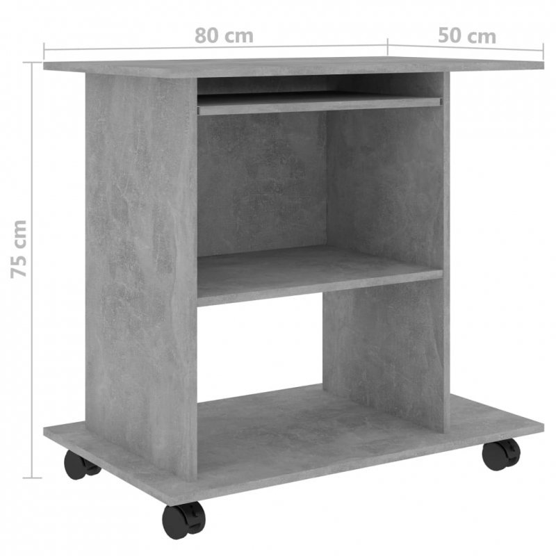 Biurko komputerowe, szarość betonu, 80x50x75 cm, płyta wiórowa