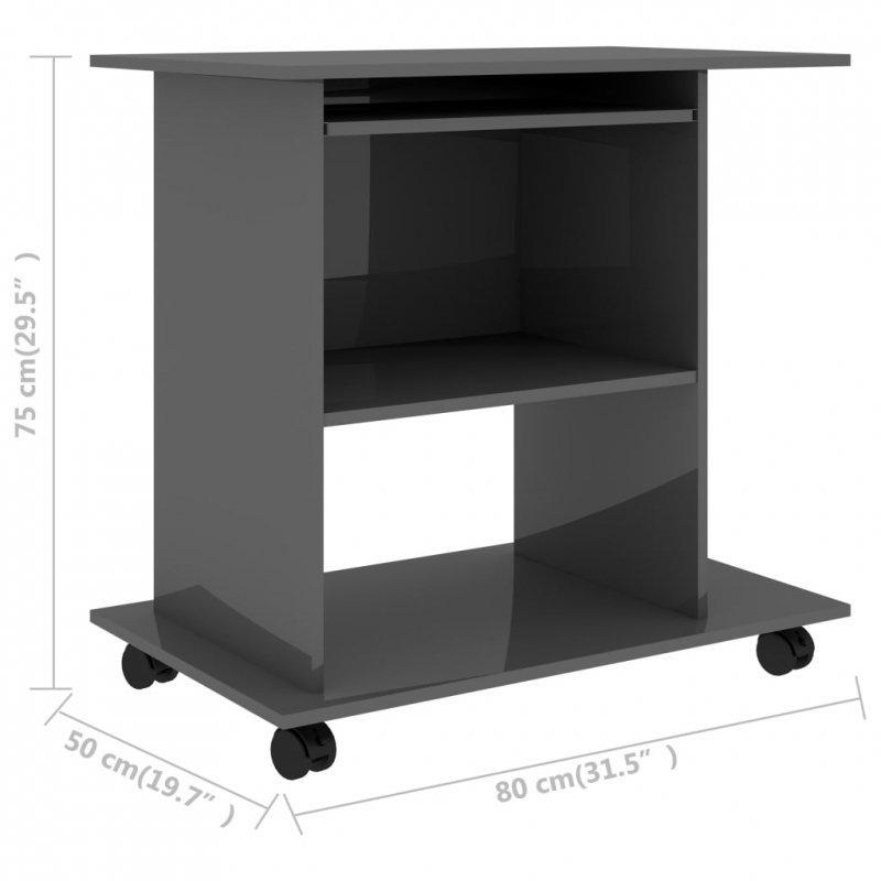 Biurko komputerowe, szare, wysoki połysk, 80x50x75 cm, płyta