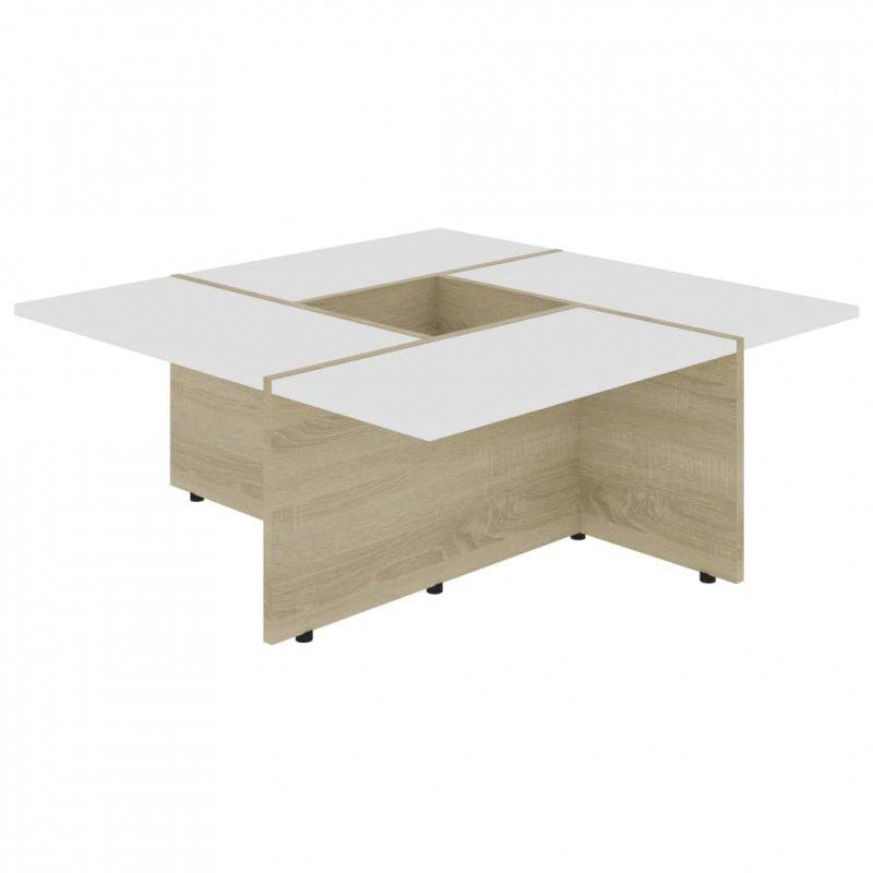Stolik kawowy, biel i dąb sonoma, 79,5x79,5x30 cm