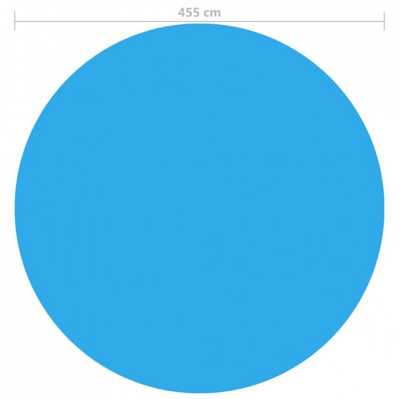 Pływająca, okrągła folia, pokrywa solarna PE, 455 cm, niebieska