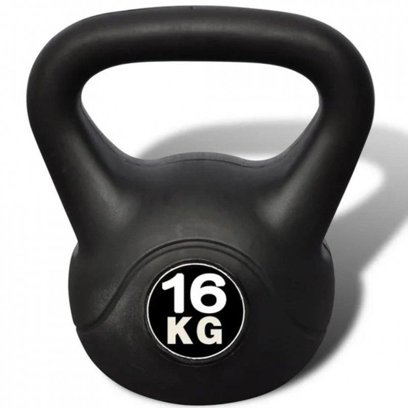 Hantla, kettlebell (16 kg).