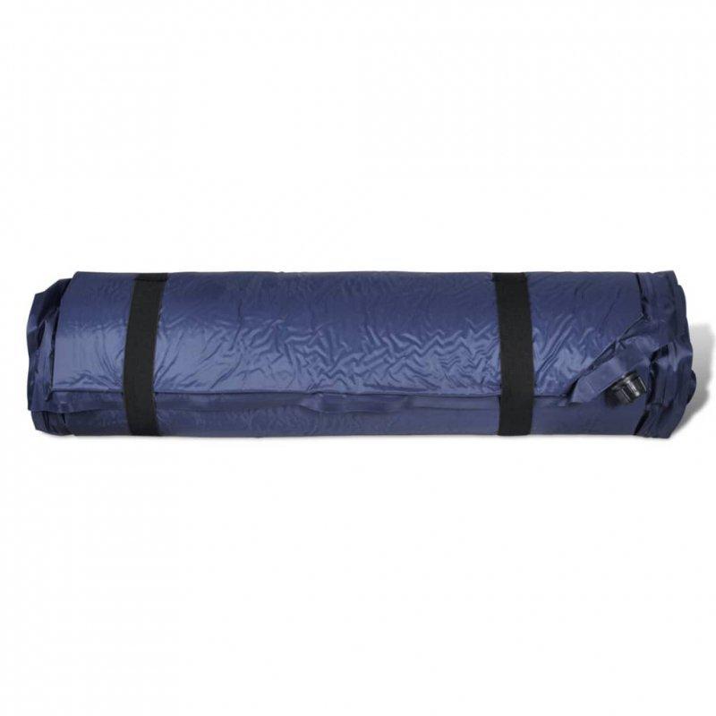 Materac samopompujący z poduszką, 6x66x200 cm, niebieski
