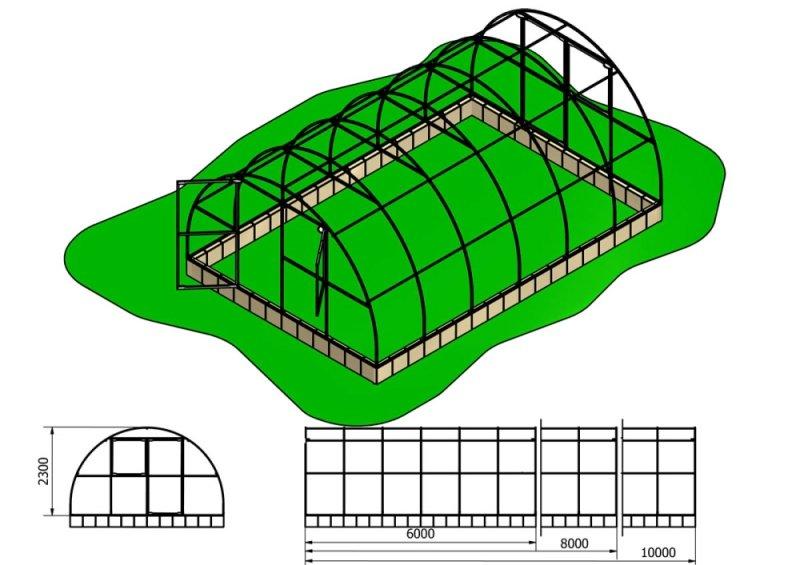 Szklarnia Primus 4x6m 24m2 H=230cm poliwęglan 4mm