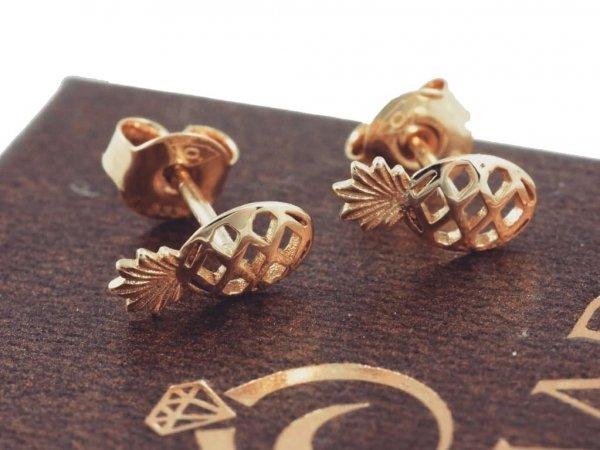 Kolczyki ANANASY sztyft złoto 333