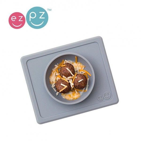 Silikonowa miseczka z podkładką 2w1 Mini Bowl szara