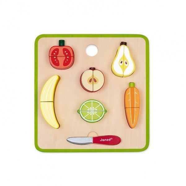 Układanka drewniana 3D Warzywa i owoce zestaw do krojenia z magnesami