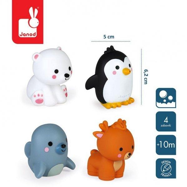 Zestaw figurek do kąpieli 4 zwierzątka polarne 10 m+