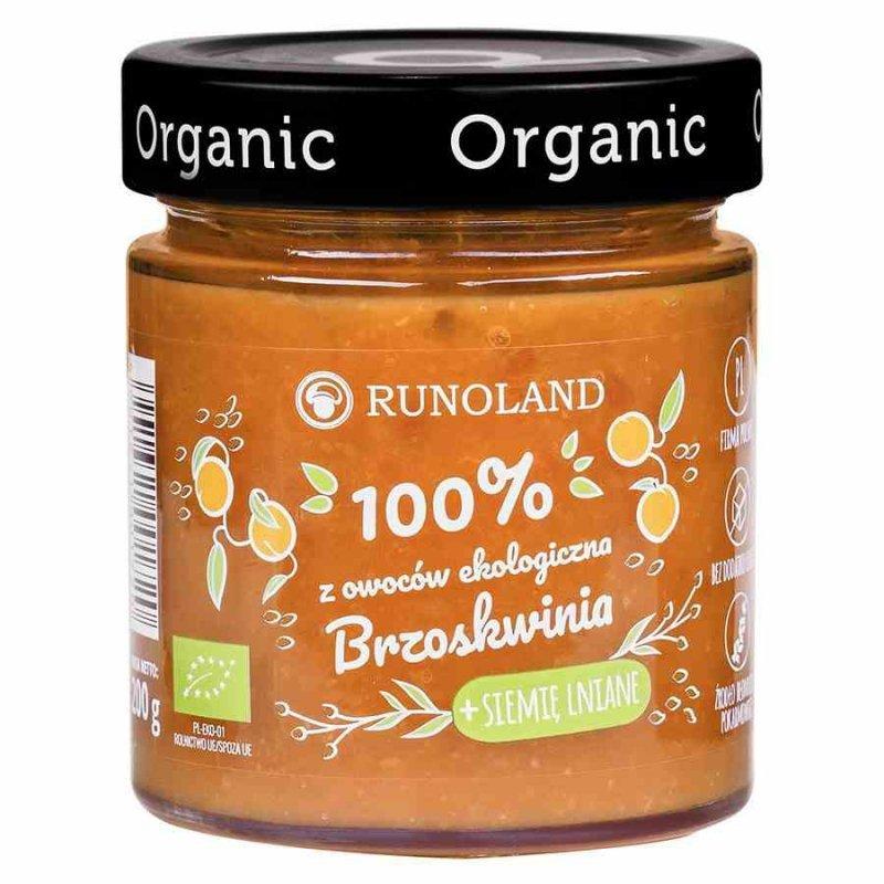 Brzoskwnia + siemię lniane 100% owoców o konsystencji dżemu Runoland BIO, 200g