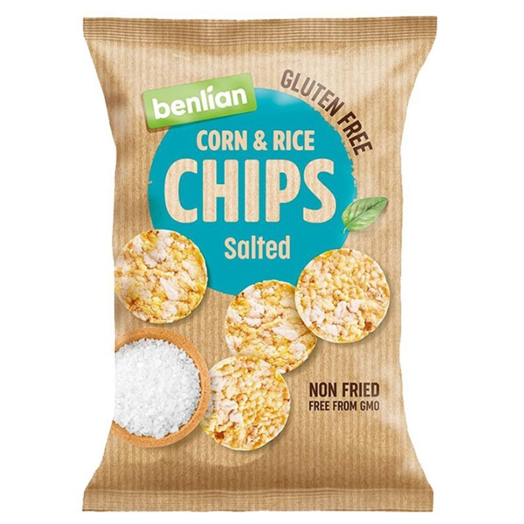 Chipsy kukurydziano-ryżowe - klasyczne z solą morską Benlian, 50g