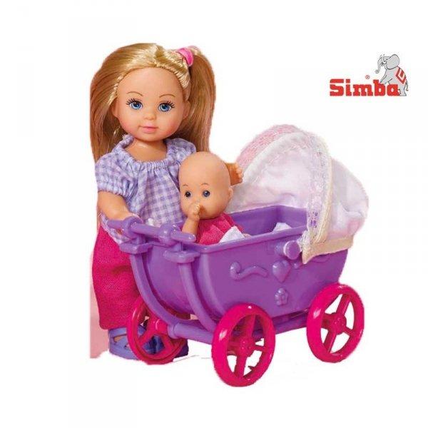 Simba Lalka Evi z Fioletowym wózkiem i laleczką