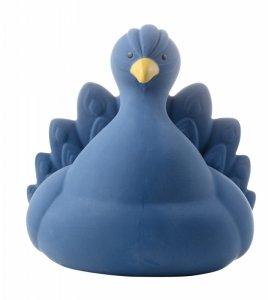 Natruba, Naturalny gryzak, zabawka do kąpieli, Paw, niebieski