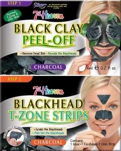 7th heaven - Charcoal Duo Black Clay Peel-Off węglowa maseczka do twarzy 6ml + Blackhead T-Zone Strips paski niwelujące zaskórniki 3szt
