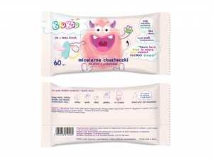 Booboo - Micelarne chusteczki nawilżane z prebiotykiem dla dzieci 60szt