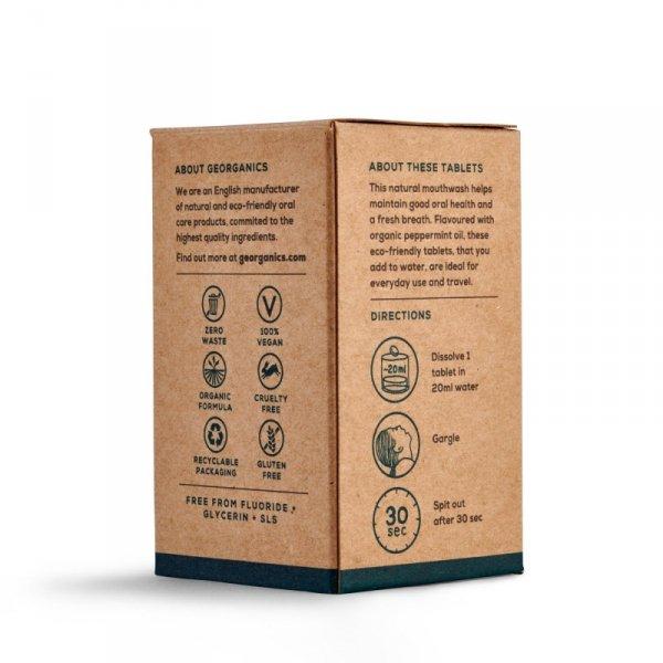 Georganics, Naturalne tabletki do płukania jamy ustnej Peppermint, 180 tabletek