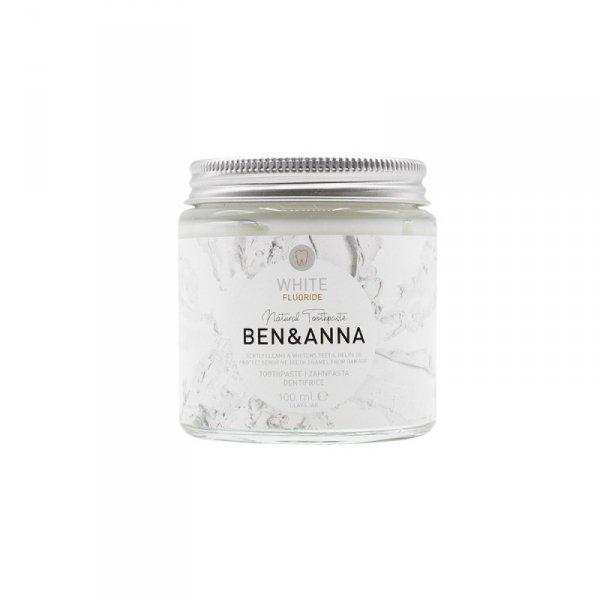 BEN and ANNA, Naturalna wybielająca pasta do wrażliwych zębów z fluorem WHITE, szklany słoik ZERO WASTE, 100 ml