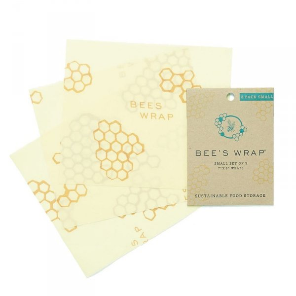 Bee's Wrap, Woskowana organiczna bawełna do zawijania, 3 szt., rozm. S 17,5 x 20 cm