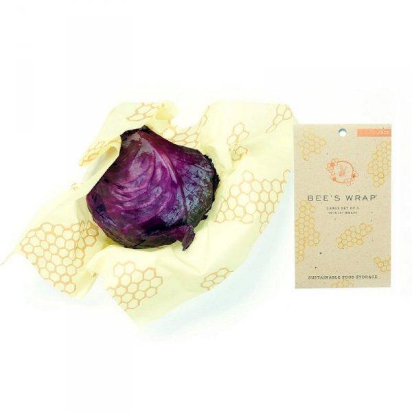 Bee's Wrap, Woskowana organiczna bawełna do zawijania, 3 szt., rozm. L 33 x 35 cm